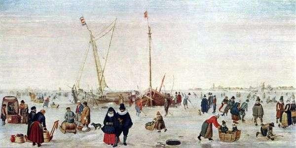 スケーターと冬の風景   Hendrick Averkamp