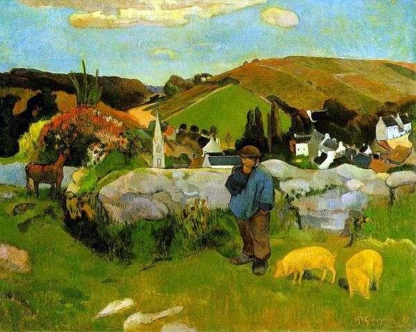 豚の群れ、ブルターニュ   ポールゴーギャン