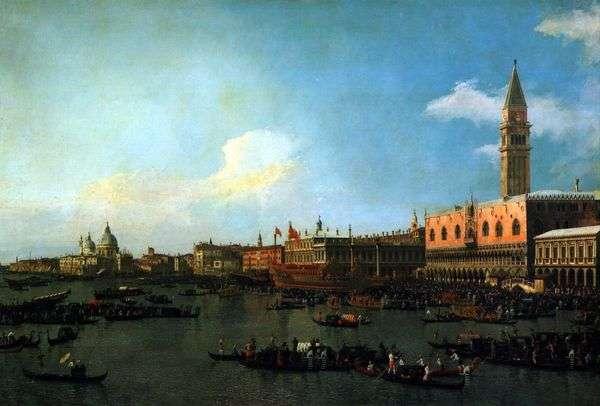 Bucentaurは、昇天記念日   Antonio Canalettoに桟橋から出航する準備をしています