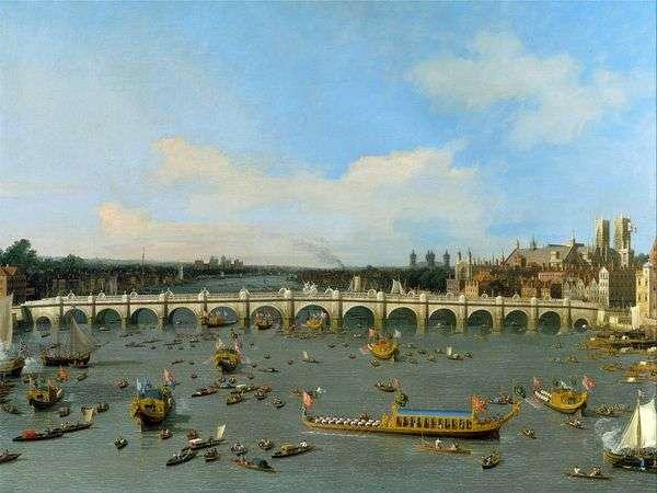 テムズ川   アントニオ・カナレットの主市長の列車とロンドンのウェストミンスター橋
