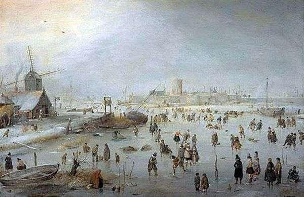 街の外の氷の上   Hendrik Averkamp