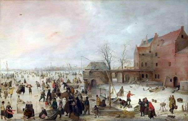 街の壁の氷上   Hendrik Averkamp