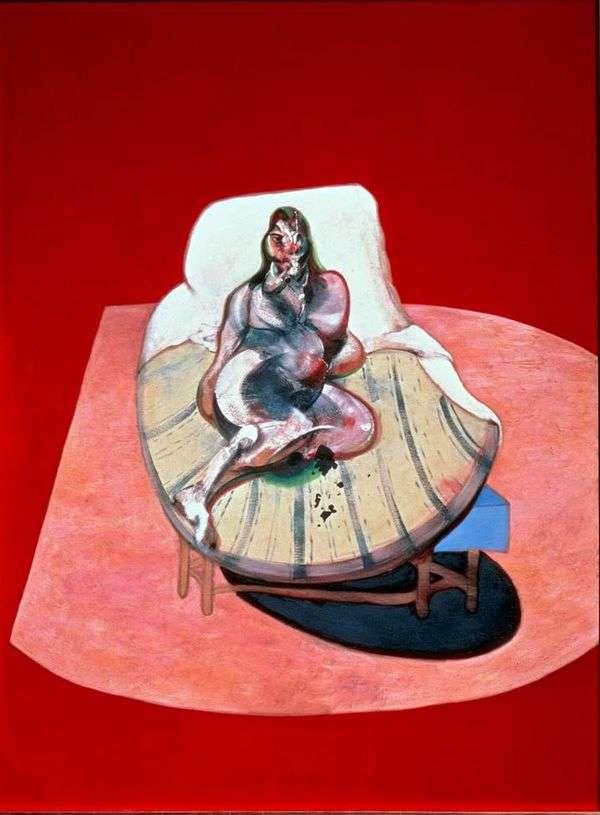 Henrietta Moraes in red   フランシスベーコン