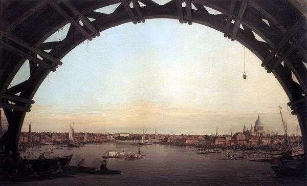 ウェストミンスター橋   アントニオ・カナレットのアーチを通ってロンドンの眺め