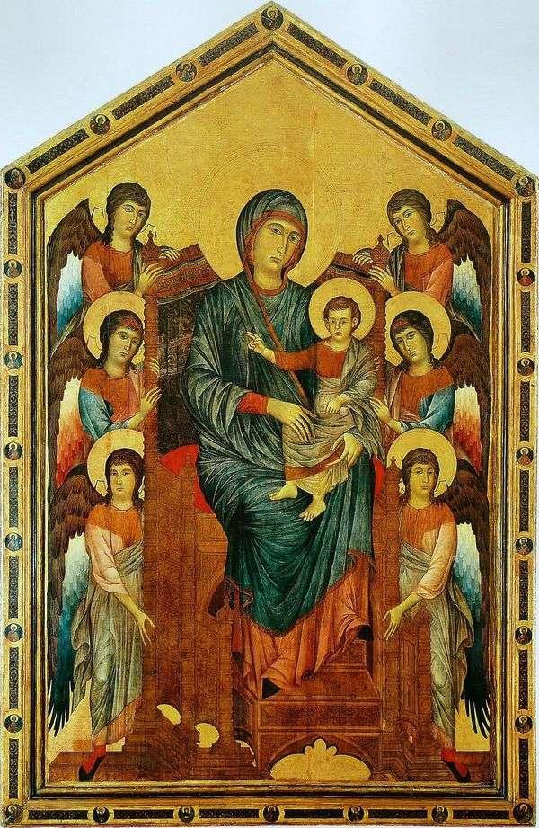 天使に囲まれた王位の聖母子   Chenny Di Pepo