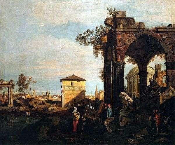 遺跡やパドヴァ   アントニオ・カナレットのポルテッロの門とカプリッチョ