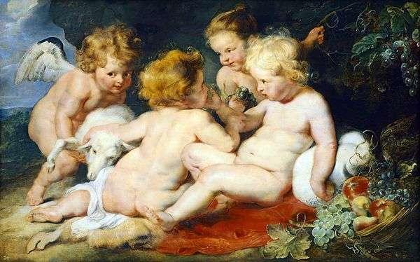 キリストと聖ヨハネ、天使と少女   Peter Rubens