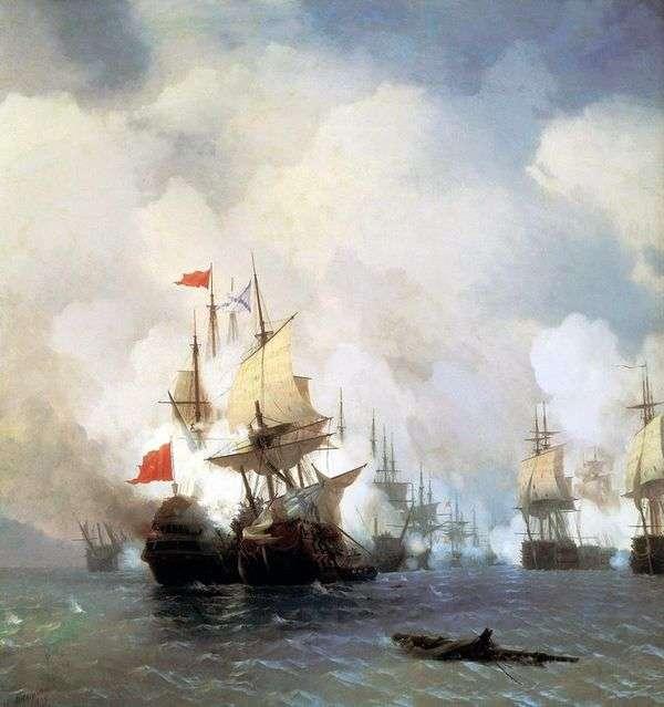 1770年6月24日にキオス海峡で戦う   Ivan Aivazovsky