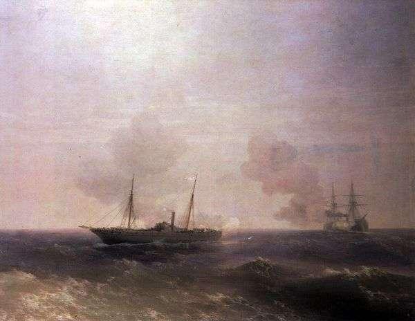 トルコの戦艦フェーティブラントとヴェスタの戦い   Ivan Aivazovsky
