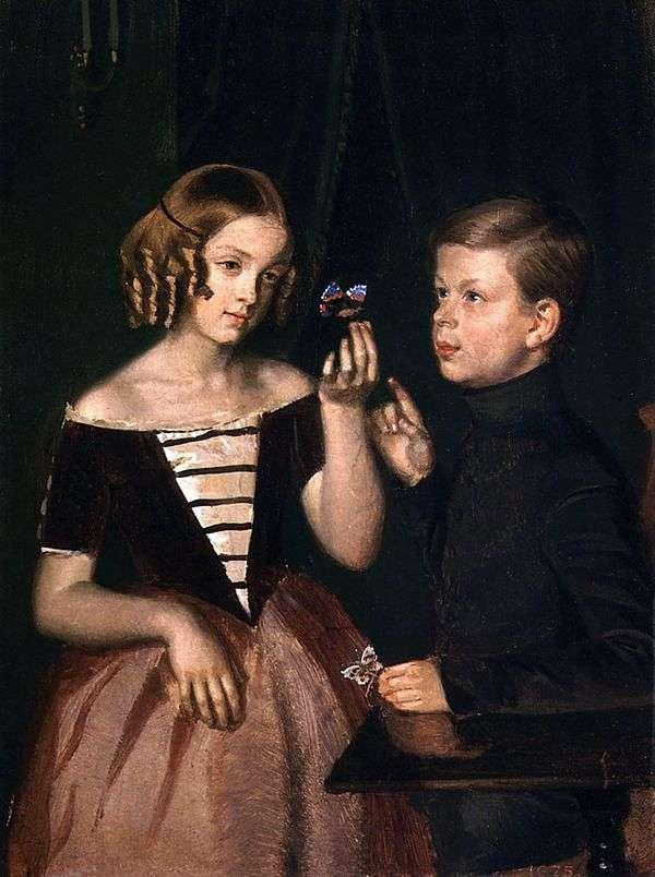 Zherbins   Pavel Fedotovの子供たちの肖像画