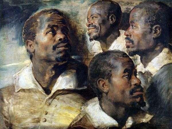 アフリカの頭の4つのスケッチ   Peter Rubens
