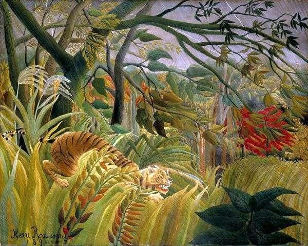 ジャングルの中の嵐   アンリ・ルソー