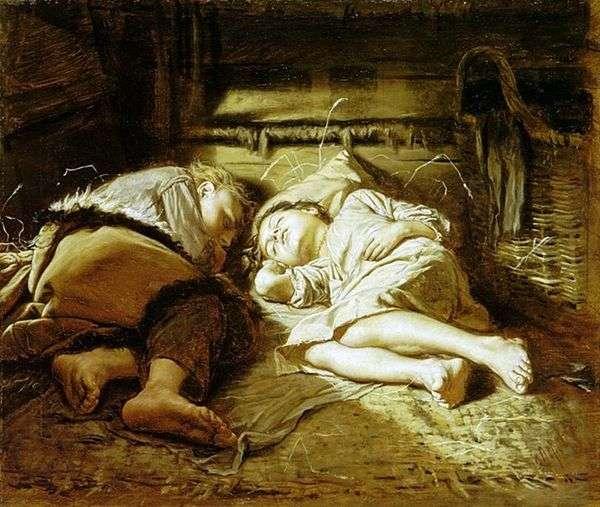 寝ている子供たち   Vasily Perov