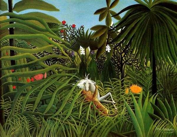 馬に対するジャガーの攻撃   Henri Rousseau