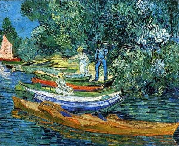 川Oise   Vincent Van Goghのオーヴェルでのボートの海岸