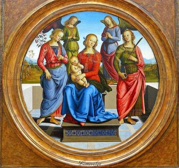 マドンナと子、天使に囲まれた、SVの。バラと聖 カトリーヌ   ピエトロペルジーノ