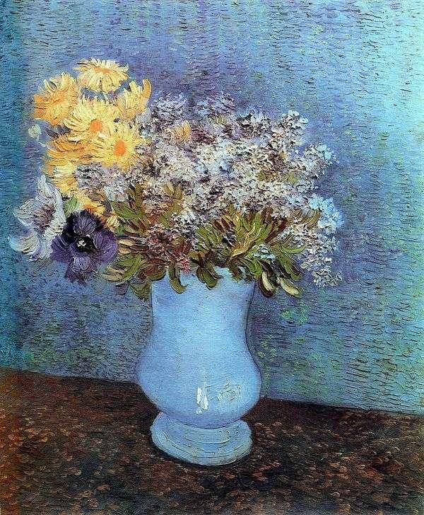 ライラック、デイジー、イソギンチャクの花瓶   Vincent Van Gogh