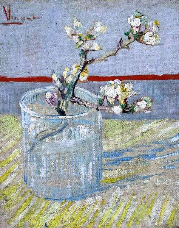ガラスの花盛りのアーモンドの枝   Vincent Van Gogh