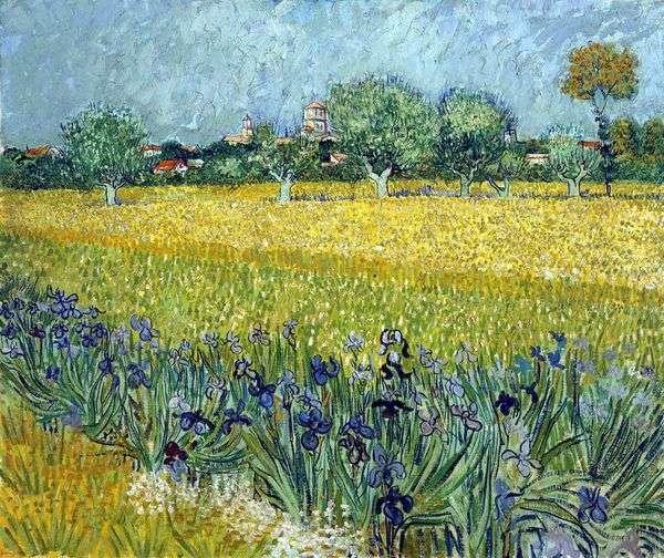 前景にアイリスとアルルの眺め   Vincent Van Gogh