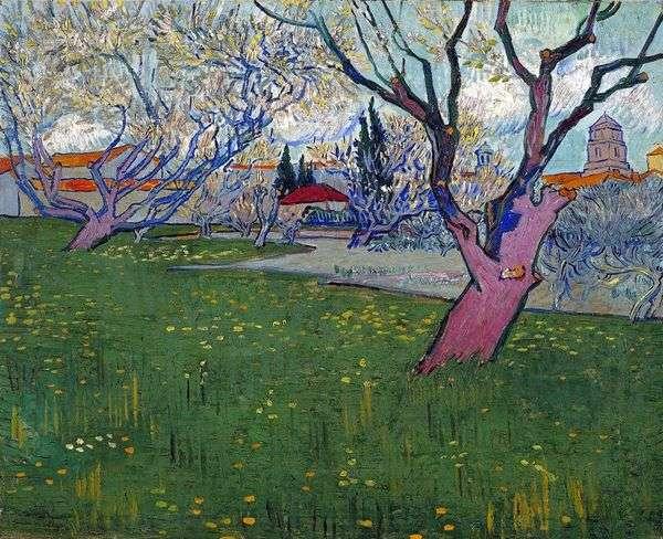 花盛りの木   Vincent Van Goghの間でアルルの眺め