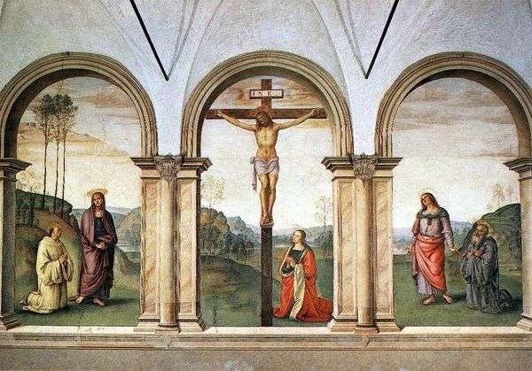 フレスコ画のトリプティクのはりつけ   Pietro di Cristoforo Vanucci Perugino