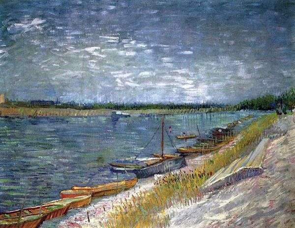 手漕ぎボート   Vincent Van Goghと川の眺め