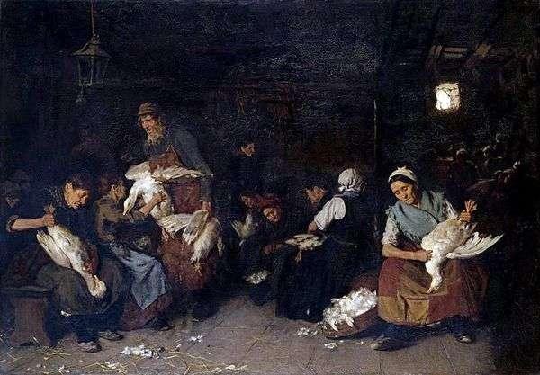ガチョウを摘採する女性   Max Lieberman