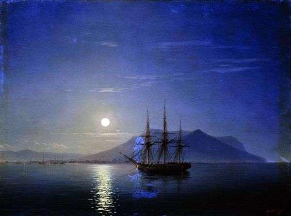 月明かりの夜   Ivan Aivazovskyのクリミア半島沖のヨット