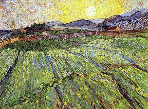朝日と畑   Vincent Van Gogh