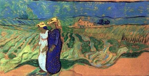 フィールドを歩く2人の女性   Vincent Van Gogh