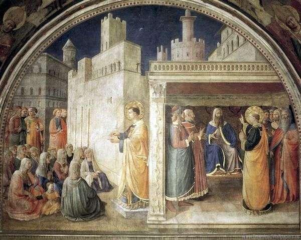 SVの説教 ステファン サンヘドリン   Angelico Fraの前に聖ステファン