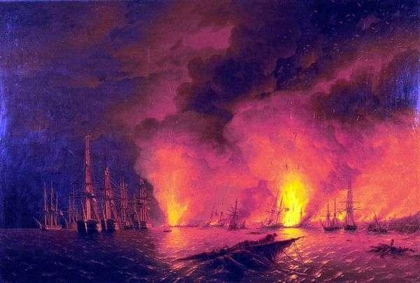 夜のシノプの戦い   Ivan Aivazovsky
