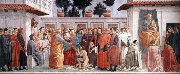 部門のテオフィルの息子と使徒ペテロの復活   マサッチオ