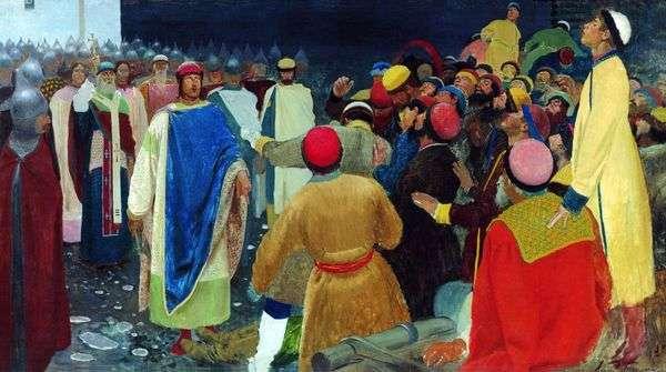 プリンスグレブSvyatoslavovichがノヴゴロド議会(Princely court)で魔術師を殺す   Andrei Ryabushkin
