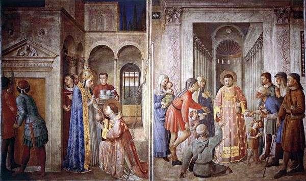 聖ローレンスは、教会の宝物を持って貧しい人々に配布しています   Angelico Fra