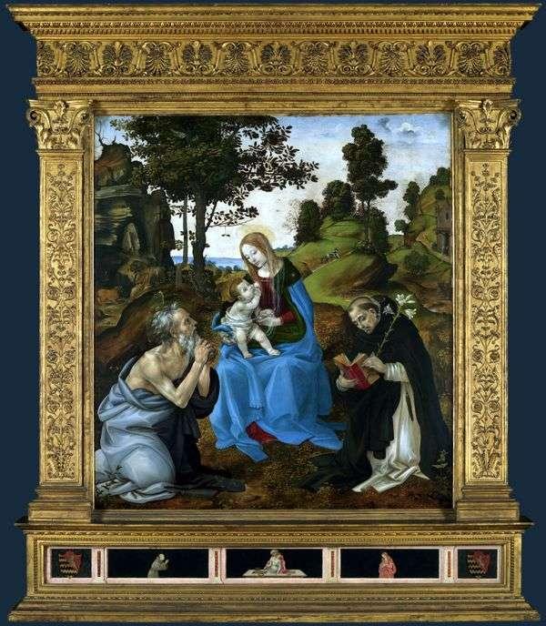 マドンナと聖人ジェロームとドミニクと子   フィリピンリッピ