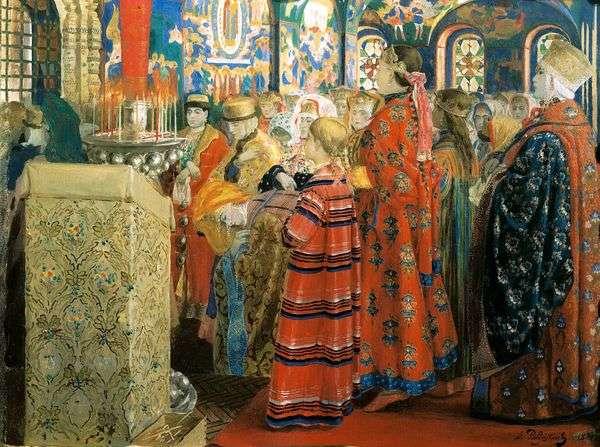 教会の中の18世紀のロシア人女性   Andrei Petrovich Ryabushkin