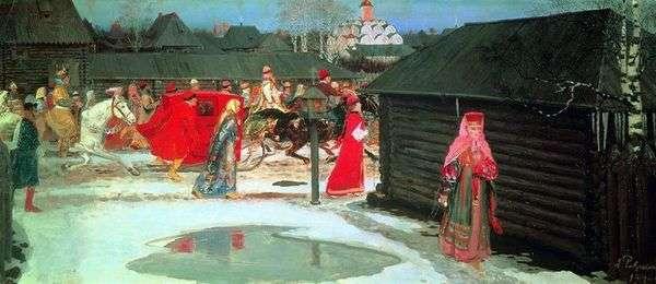 モスクワでのウェディングトレイン(18世紀)   Andrey Ryabushkin