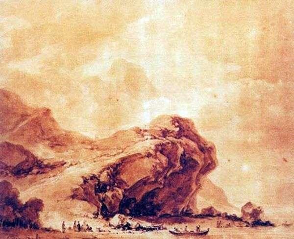 ジェノヴァ   ジャンオノレフラゴナール近くの海岸の眺め
