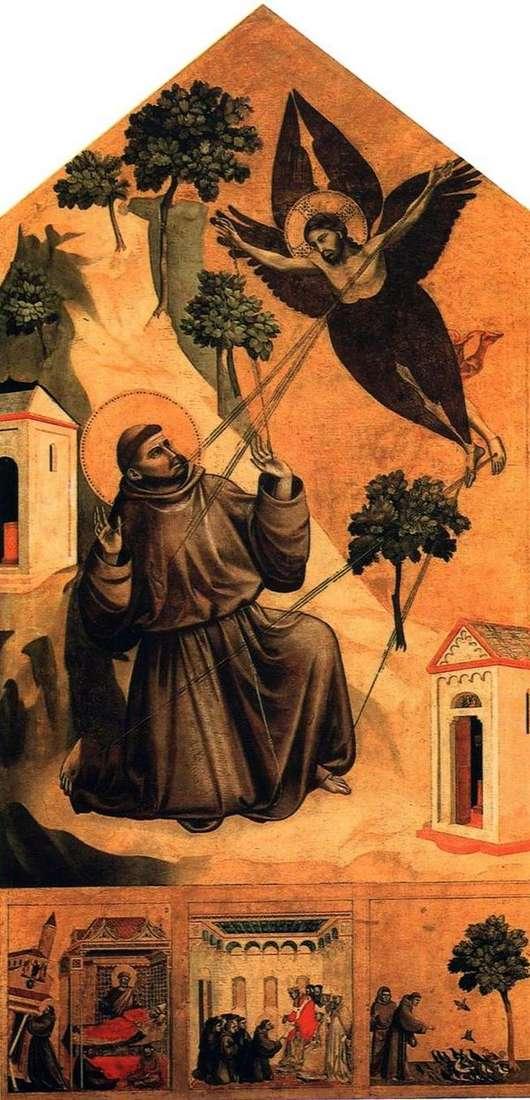 人生から3つのシーンを持つ、聖痕を受けている聖フランシスコ   Giotto di Bondone