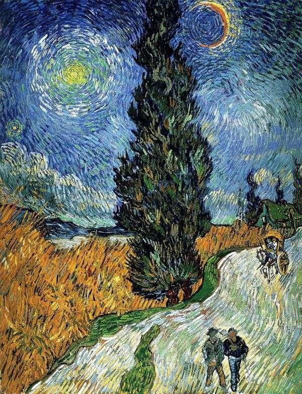 ヒノキと星のある道   Vincent Van Gogh