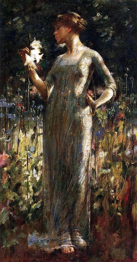 夜の娘(ユリの花束を持つ少女)   John White Alexander