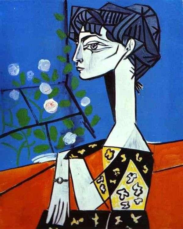 花とジャクリーン   Pablo Picasso