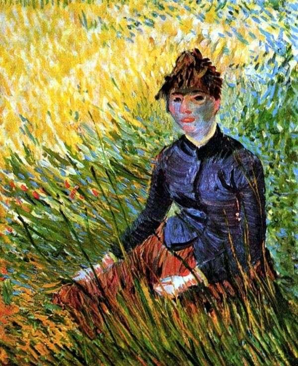 草の中に座っている女性   Vincent Van Gogh