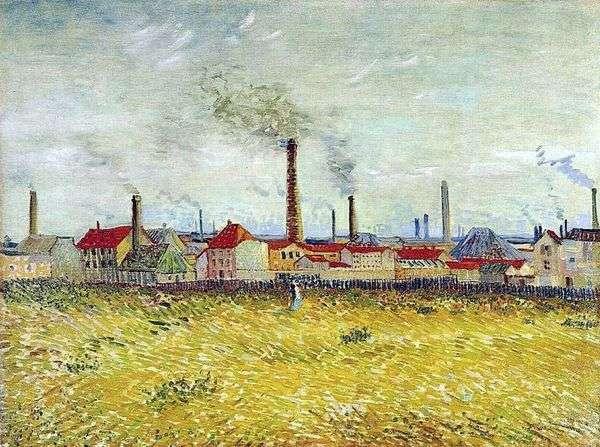 Anyerの工場、de Clichy   Vincent van Goghの郊外からの眺め