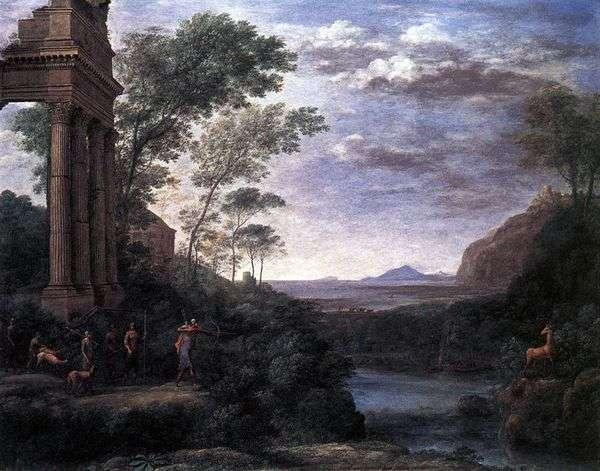 Ascaniusが鹿を撃っている風景   Claude Lorrain