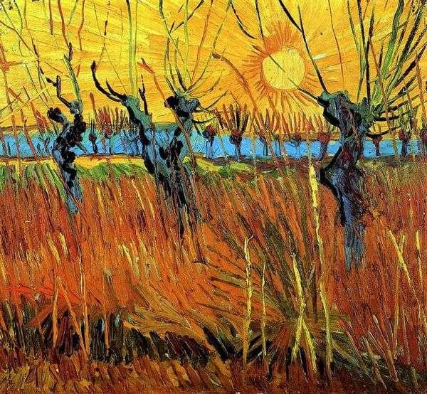 日没時の柳   Vincent Van Gogh