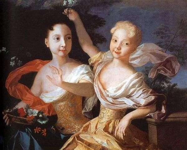 Tsarevna Anna PetrovnaとElizaveta Petrovna   Louis Caravaqueの肖像画