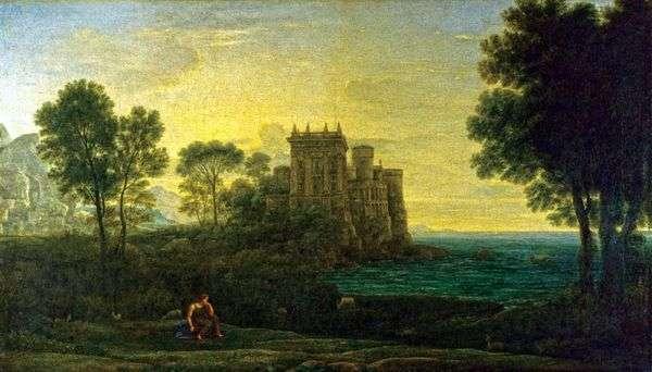 キューピッド宮殿   クロード・ロランの背景にプシュケのある風景します。