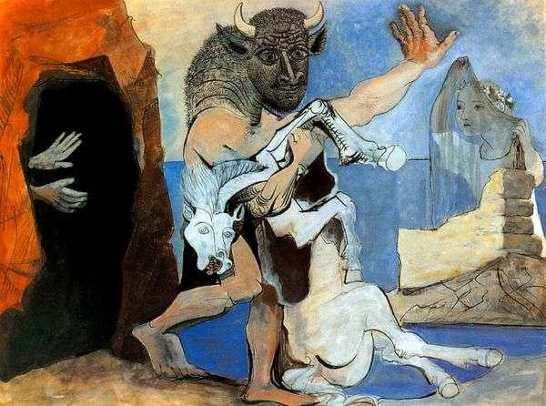 洞窟の前で死んだ馬とミノタウロス   Pablo Picasso